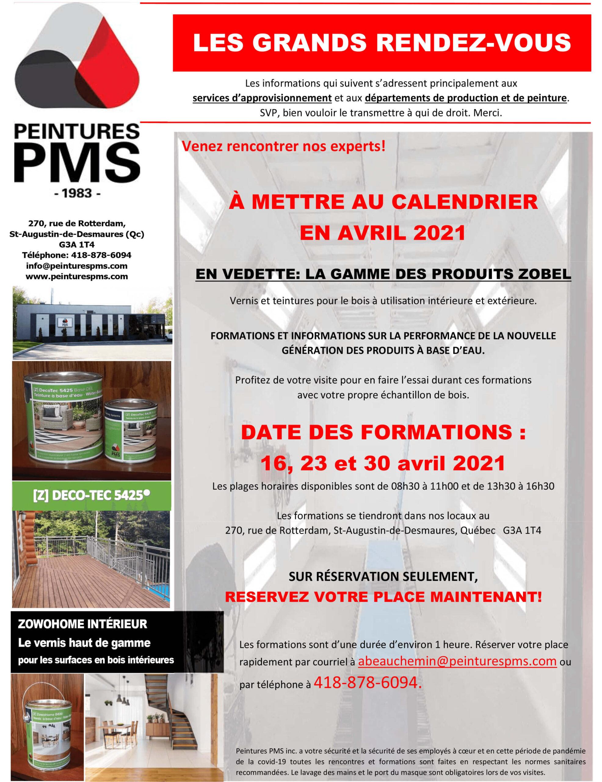peintures PMS événement porte ouverte avril 2021